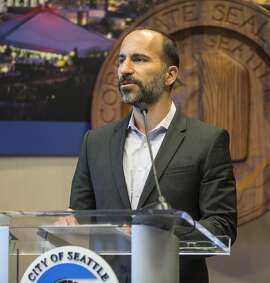 FILE - In this April 2, 2015, file photo, Expedia's CEO Dara Khosrowshahi announces his company is moving 3,000 employees from Bellevue, Wash., to Seattle's waterfront in 2016, during a news conference in Seattle. Two people briefed on the matter said Sunday, Aug. 27, 2017, that Khosrowshahi has been named CEO of ride-hailing giant Uber Technologies Inc. (Steve Ringman/The Seattle Times via AP, File)