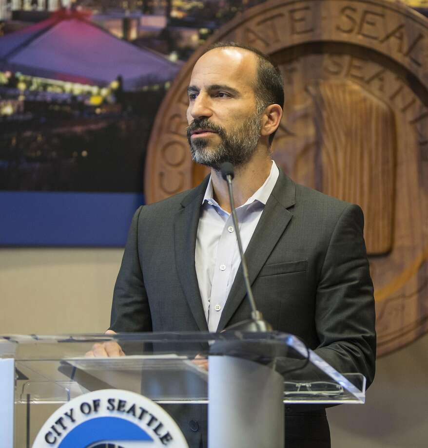 FILE - In this April 2, 2015, file photo, Expedia's CEO Dara Khosrowshahi announces his company is moving 3,000 employees from Bellevue, Wash., to Seattle's waterfront in 2016, during a news conference in Seattle. Two people briefed on the matter said Sunday, Aug. 27, 2017, that Khosrowshahi has been named CEO of ride-hailing giant Uber Technologies Inc. (Steve Ringman/The Seattle Times via AP, File) Photo: Steve Ringman, Associated Press