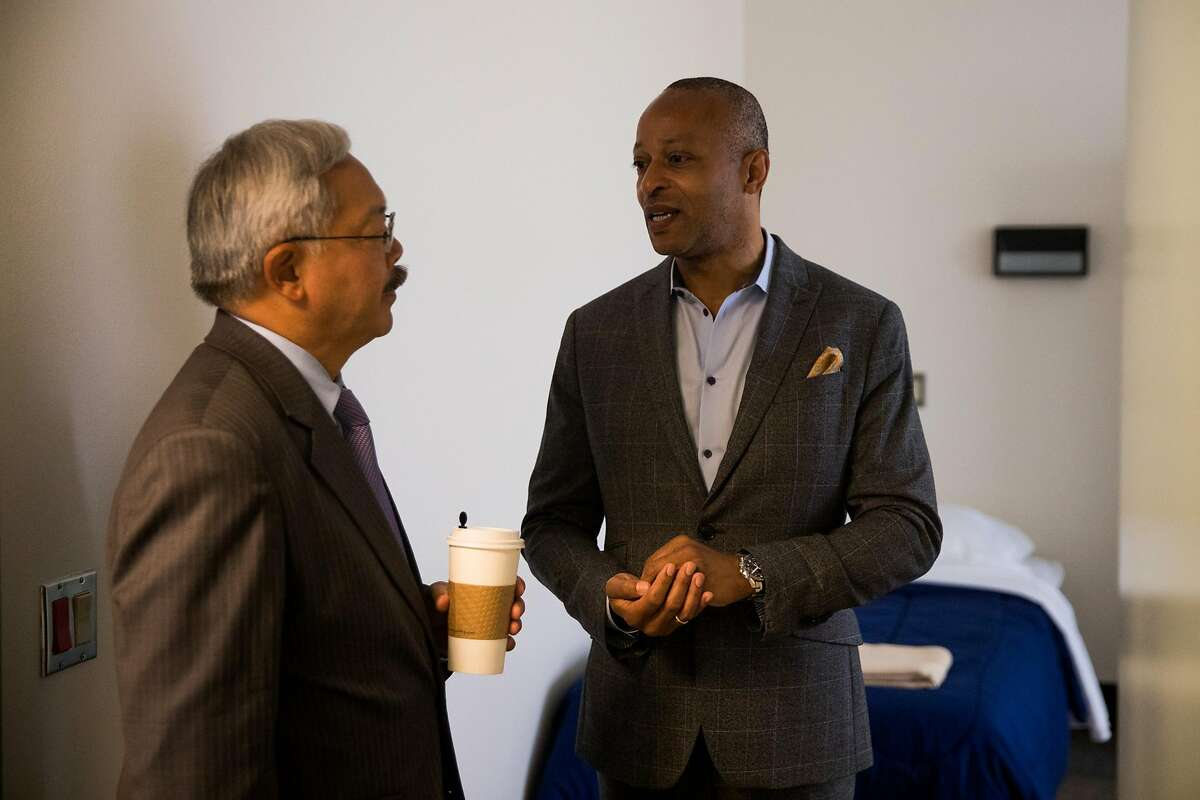 Chief Executive Officer at Positive Resource Center, Brett Andrews, talks with Mayor Ed Lee about the Hummingbird Navigation Center at the San Francisco General Hospital in San Francisco, Calif. Tuesday, August 29, 2017.