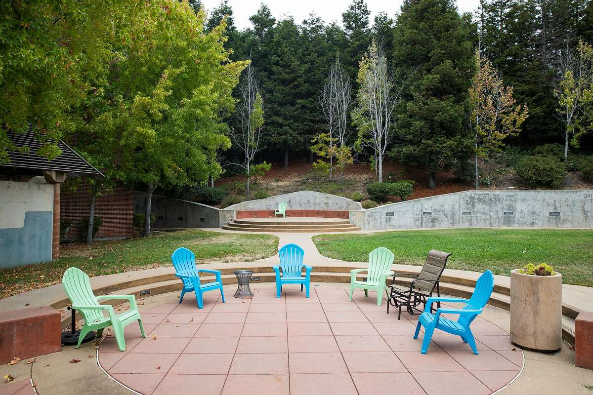 Outdoor courtyard at the Hummingbird Navigation Center at the San Francisco General Hospital in San Francisco, Calif. Tuesday, August 29, 2017.