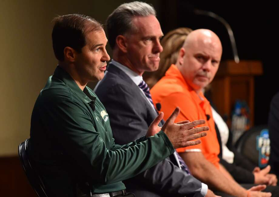 Baylor head basketball coach Scott Drew makes a point during the NCAA Final Four Tip-Off Luncheon on Aug. 29, 2017, at the Pearl Stables. Also speaking were TCU head coach Jamie Dixon (center) and UTSA head coach Steve Henson. Photo: Robin Jerstad /For The Express News / ROBERT JERSTAD
