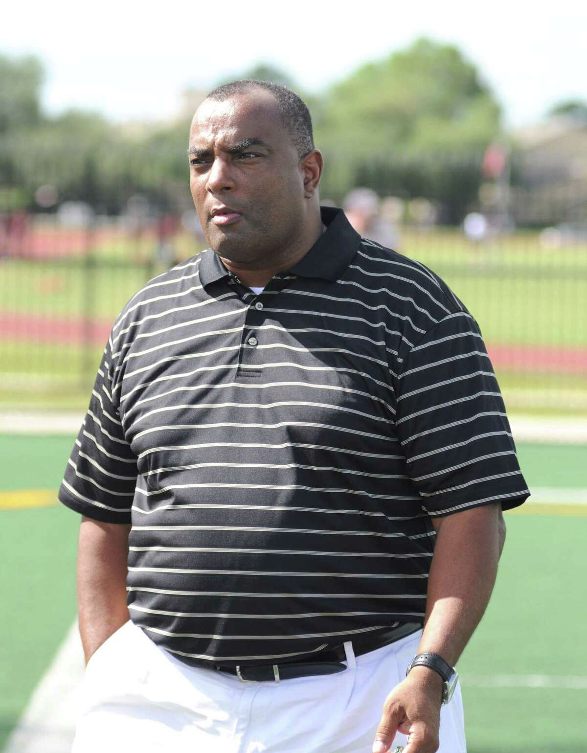Clear Creek boys cross country-track and field coach Ruben Jordan came out to support the football Wildcats during a home scrimmage against Hastings on 8-20-10 at Veterans Memorial Stadium.