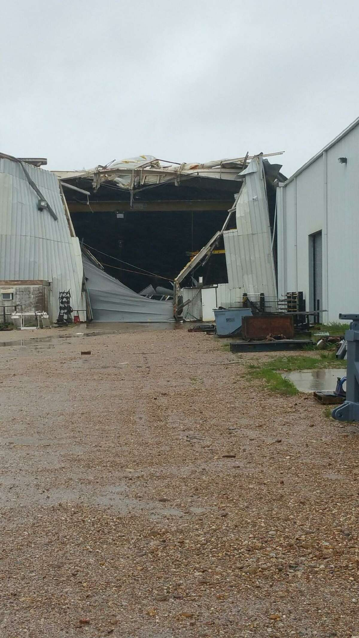 Damage done to the Dragon Rig Sales and Services manufacturing facility west of Victoria, Texas. The area took damage as Hurricane Harvey moved in during the weekend.