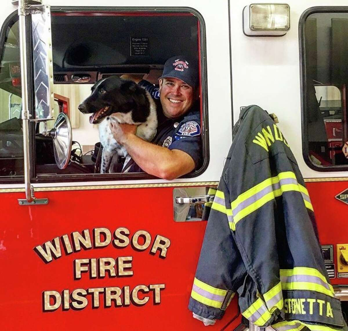Rocket and his handler, firefighter Mike Stornetta of the Windsor Fire District.