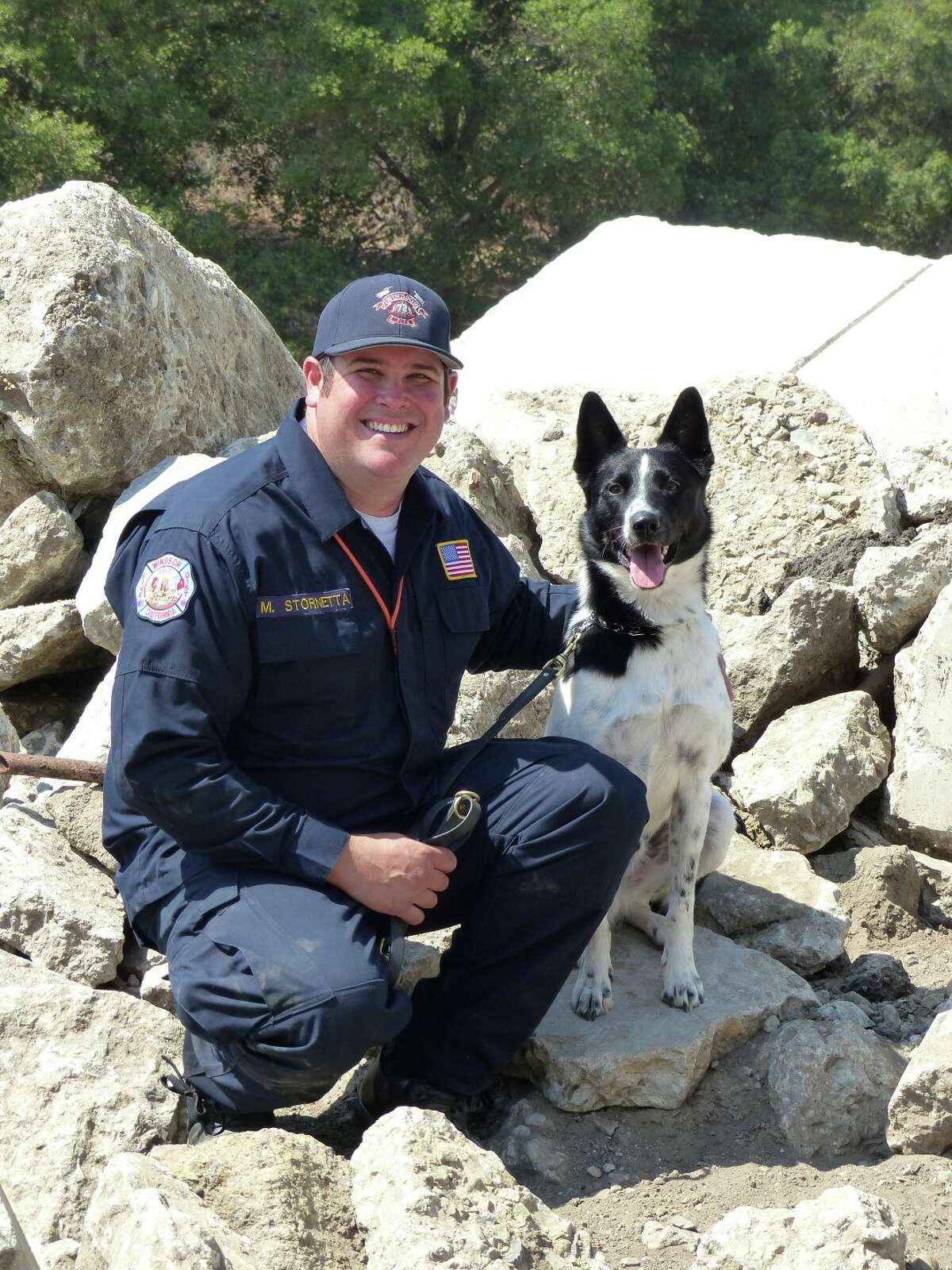 Rocket and his partner, firefighter Mike Stornetta of the Windsor Fire District.