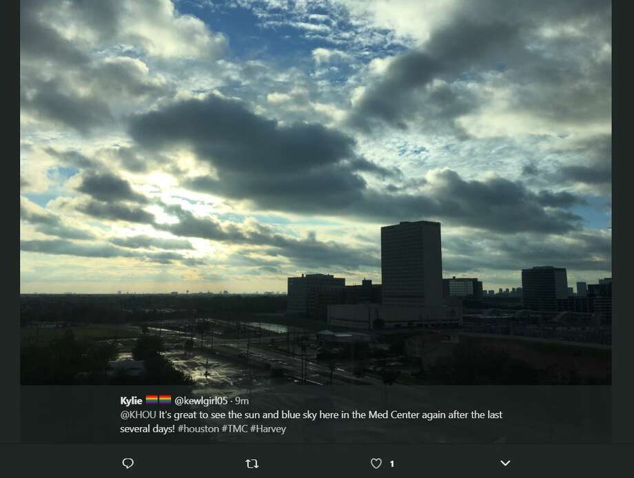 People began sharing photos of sunlight peeking through after days of heavy rain and catastrophic flooding brought on by Hurricane Harvey. Photo: @kewlgirl05