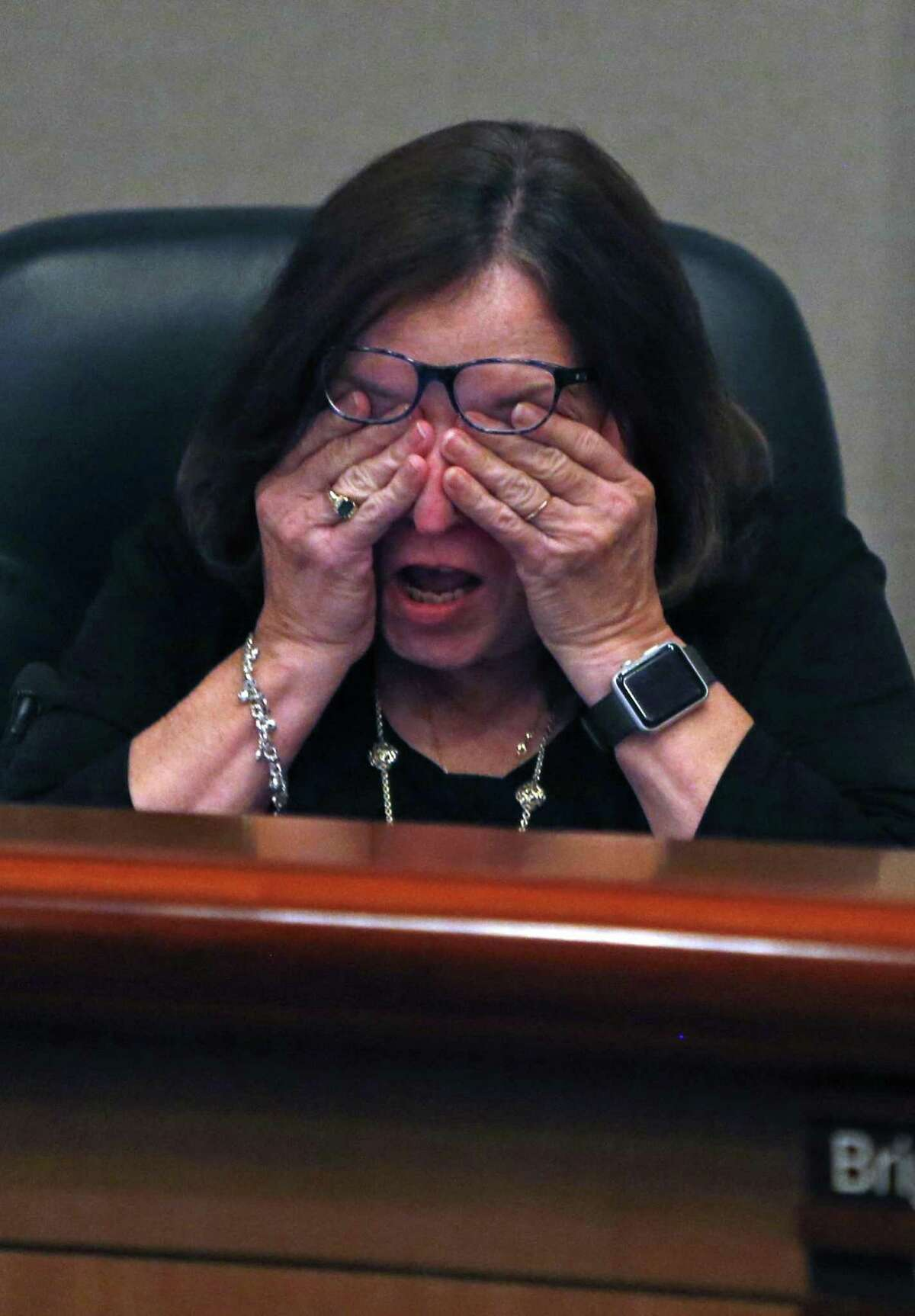 An emotional Sandy Hughey,L, after addressing the board on right is Brigitte Perkins. On Tuesday evening, the North East ISD board will vote on whether to change the name of Robert E. Lee High School in the wake of the events in Charlottesville and the national debate it started about Confederate monuments. at NEISD board room on Tuesday, August 29,2017
