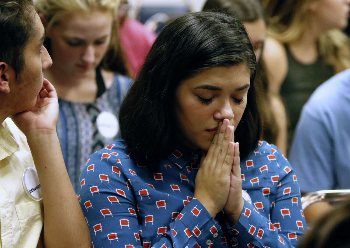 Erin Alvarez,17, a Lee student takes a moment before the board meets. On Tuesday evening, the North East ISD board will vote on whether to change the name of Robert E. Lee High School in the wake of the events in Charlottesville and the national debate it started about Confederate monuments. at NEISD board room on Tuesday, August 29,2017