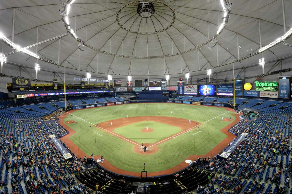 ST. PETERSBURG, FL - AUGUST 29: Texas Rangers and Houston Astros play game one, of a three game series, at Tropicana Field on August 29, 2017 in St. Petersburg, Florida.