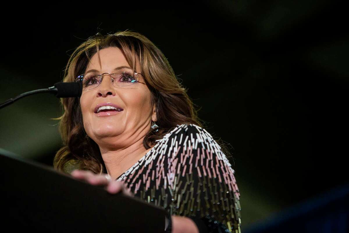 FILE -- Sarah Palin attends a campaign event for Donald Trump at the Hansen Agricultural Student Learning Center in Ames, Iowa, Jan. 19, 2016. Palin, a former vice-presidential candidate, filed a defamation lawsuit against The New York Times Company on June 27, 2017, saying the newspaper had published a statement about her in a recent editorial that it ?