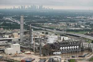 Petrochemical plants along the Houston Ship Channel are shown in the aftermath of Tropical Storm Harvey on Tuesday, Aug. 29, 2017, in Houston.