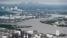 The Houston Ship Channel is shown in the aftermath of Tropical Storm Harvey on Tuesday, Aug. 29, 2017, in Houston.