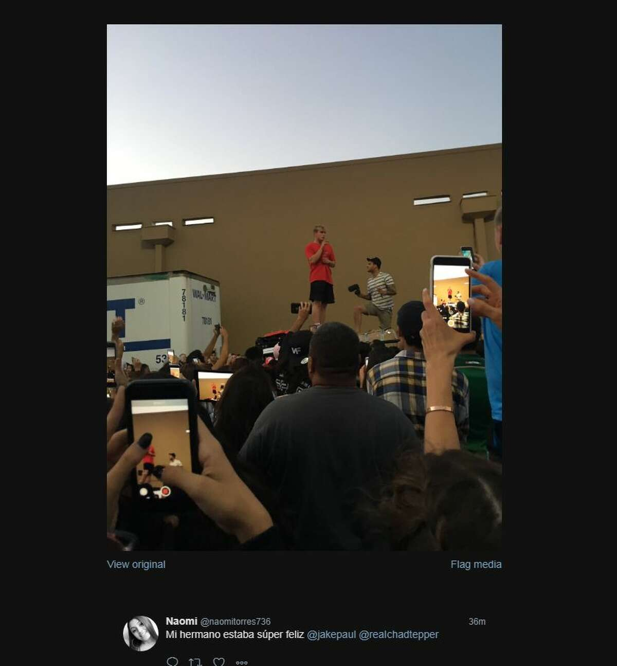 A crowd surrounded a San Antonio Walmart when Disney star Jake Paul met fans to gather supplies to help Hurricane Harvey victims in Houston.