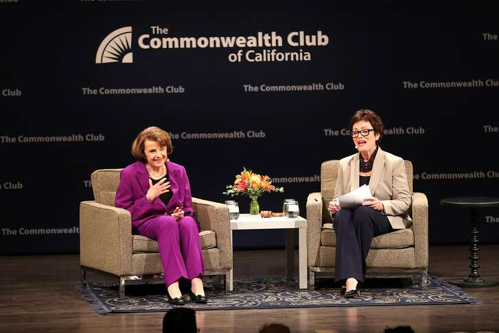 Sen. Dianne Feinstein in conversation with Ellen Tauscher during The Commonwealth Club of California event at Herbst Theater in San Francisco, Calif. on Tuesday, August 29, 2017.