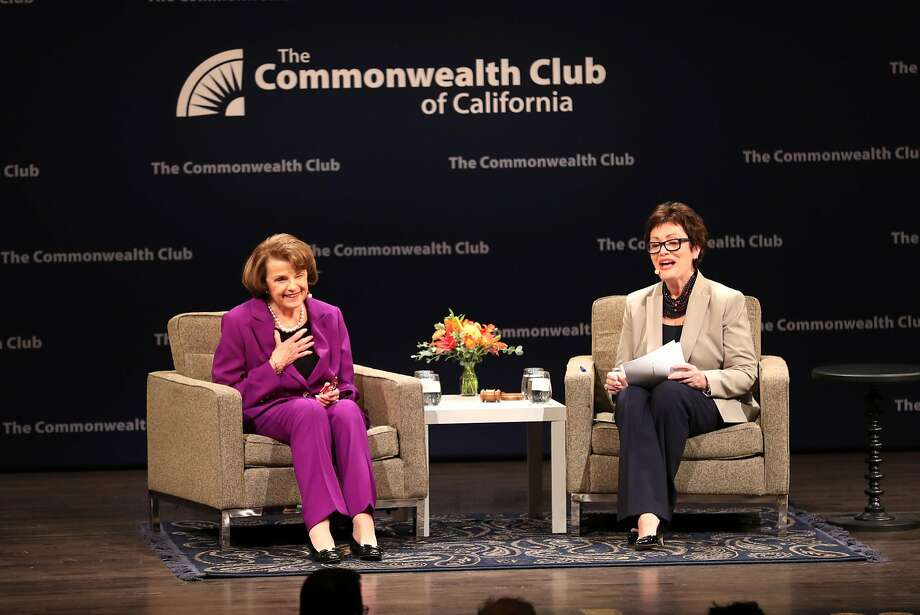 Sen. Dianne Feinstein in conversation with Ellen Tauscher during The Commonwealth Club of California event at Herbst Theater in San Francisco, Calif. on Tuesday, August 29, 2017. Photo: Scott Strazzante, The Chronicle