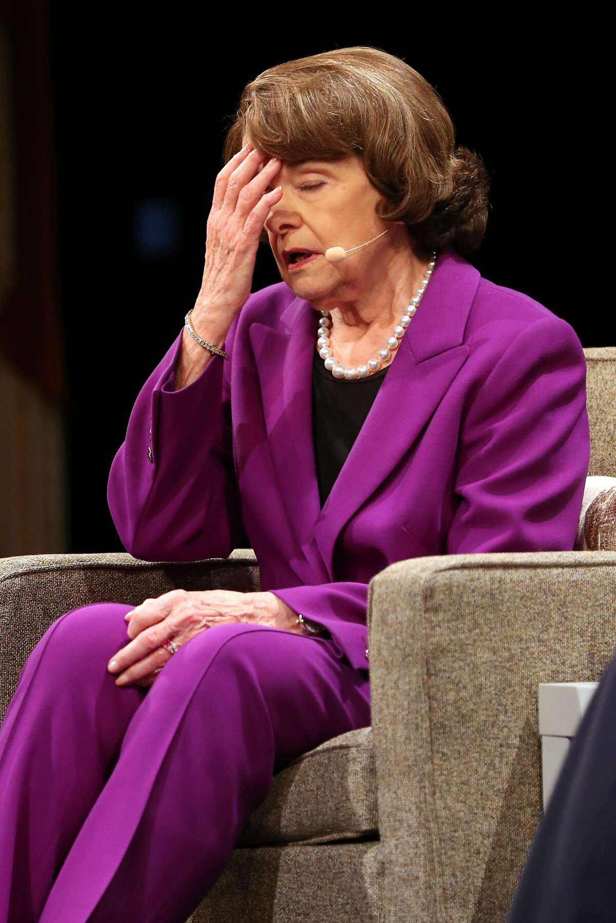 Sen. Dianne Feinstein reacts while talking about the Hurricane Harvey flooding in Houston during a conversation with Ellen Tauscher during The Commonwealth Club of California event at Herbst Theater in San Francisco, Calif. on Tuesday, August 29, 2017.