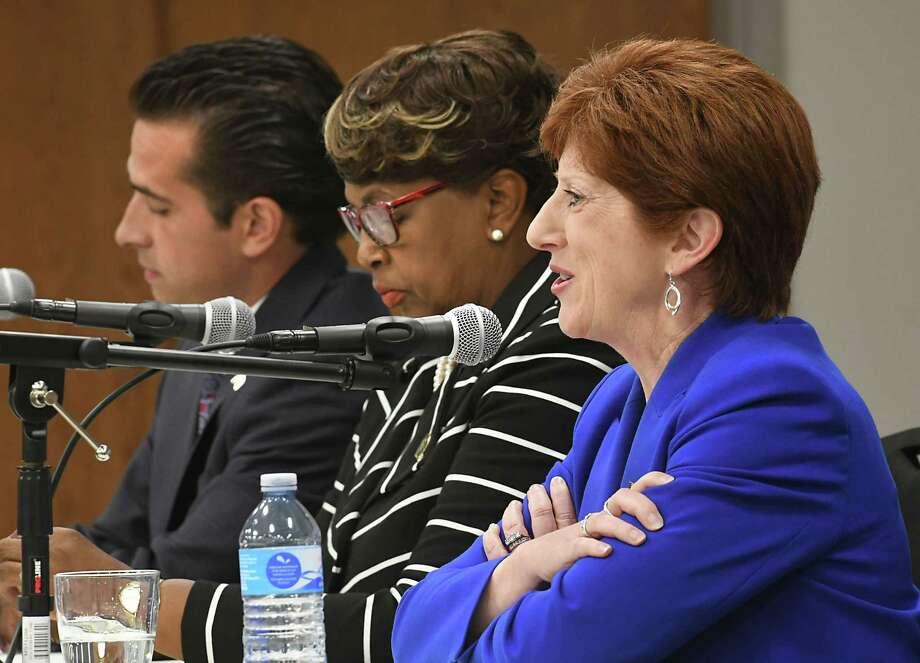 Councilman Frank Commisso Jr., left, Council President Carolyn McLaughlin, center, and incumbent Mayor Kathy Sheehan  participate in Albany's Democratic mayoral candidate debate at the Hearst Media Center on Tuesday Aug. 29, 2017 in Colonie, N.Y. (Lori Van Buren / Times Union) Photo: Lori Van Buren, Albany Times Union / 20041381A