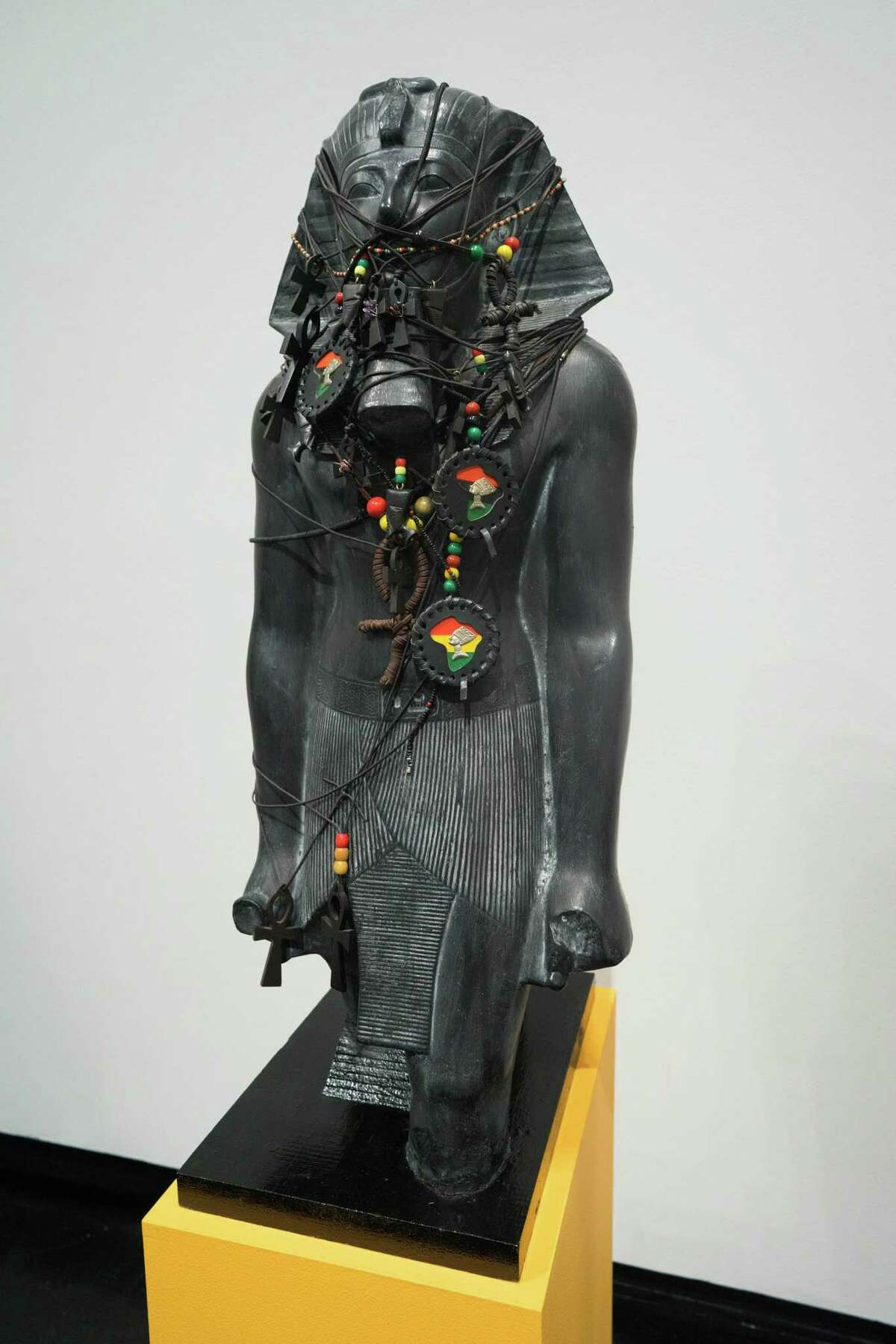 Fred Wilson, Pharoah Fetish (plaster, paint, leather, cotton, wood, glass, amethyst, copper). Gift of Peter Norton (Photo by William Jaeger)