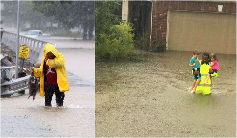 The Tax Day Flood was funny. Harvey isn't. Photo: Steve Gonzales,  Houston Chronicle; And Harris County Sheriff's Office