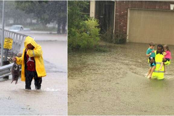 Iconic images of two very different Houston floods: Tax Day, and Harvey.