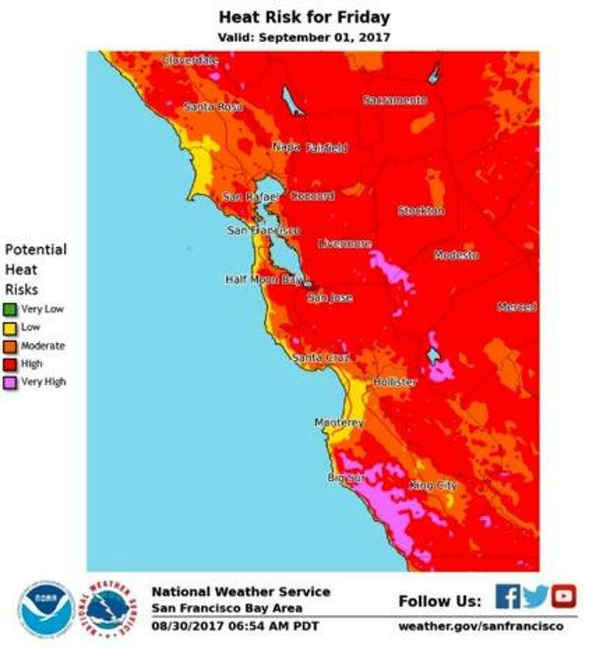 Parts of the Bay Area could tie heat records with triple-digit temperatures forecast in some areas on Friday, meteorologists said. Photo: National Weather Service / / National Weather Service