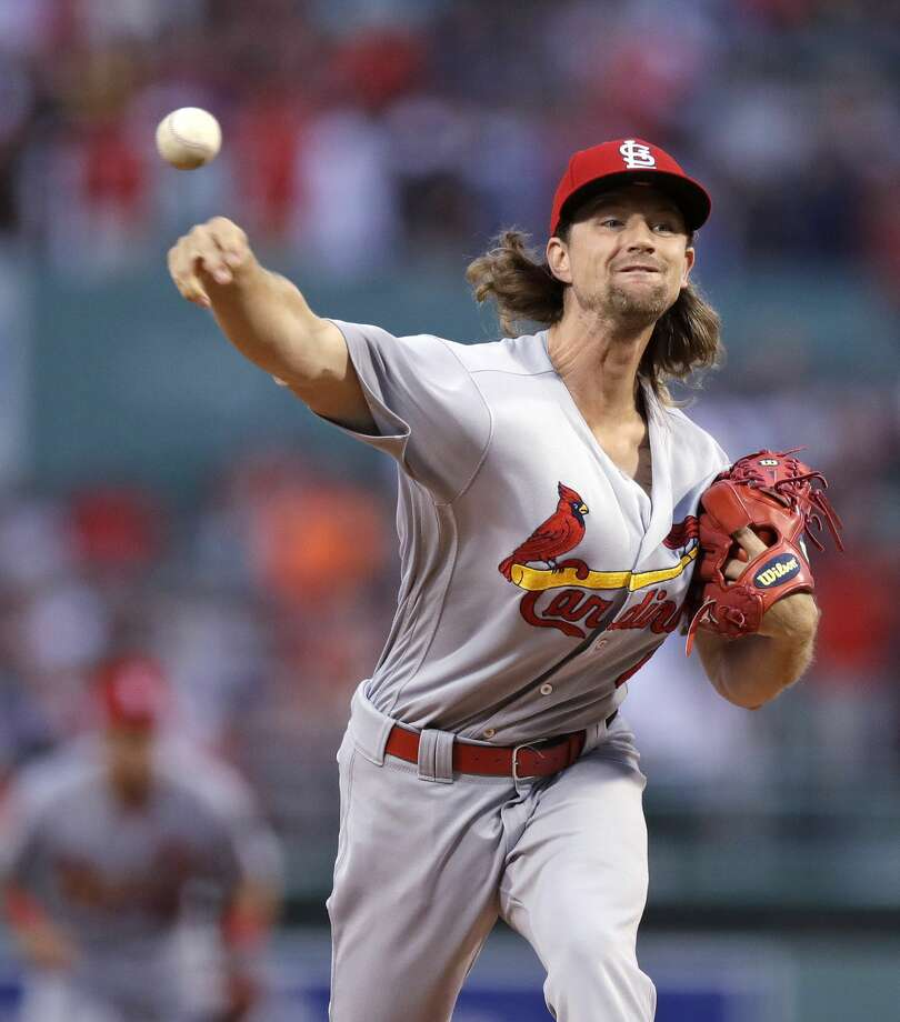 St. Louis Cardinals starting pitcher Mike Leake delivers during the first inning of a baseball game against the Boston Red Sox in Boston, Tuesday, Aug. 15, 2017. (AP Photo/Charles Krupa) Photo: Charles Krupa/AP