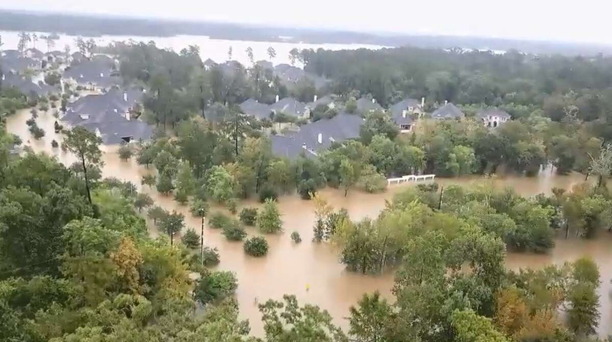 Screenshots from a video posted Tuesday, Aug. 29 by Southern Drone Solutions shows flooding along Royal Shores Drive and the surrounding neighborhood in Kingwood.
