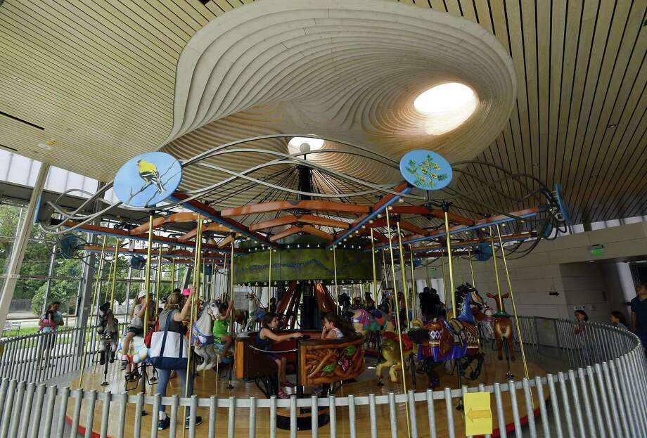The Mill River Collaborative Carousel in Stamford. Photo: Matthew Brown / Hearst Connecticut Media / Stamford Advocate