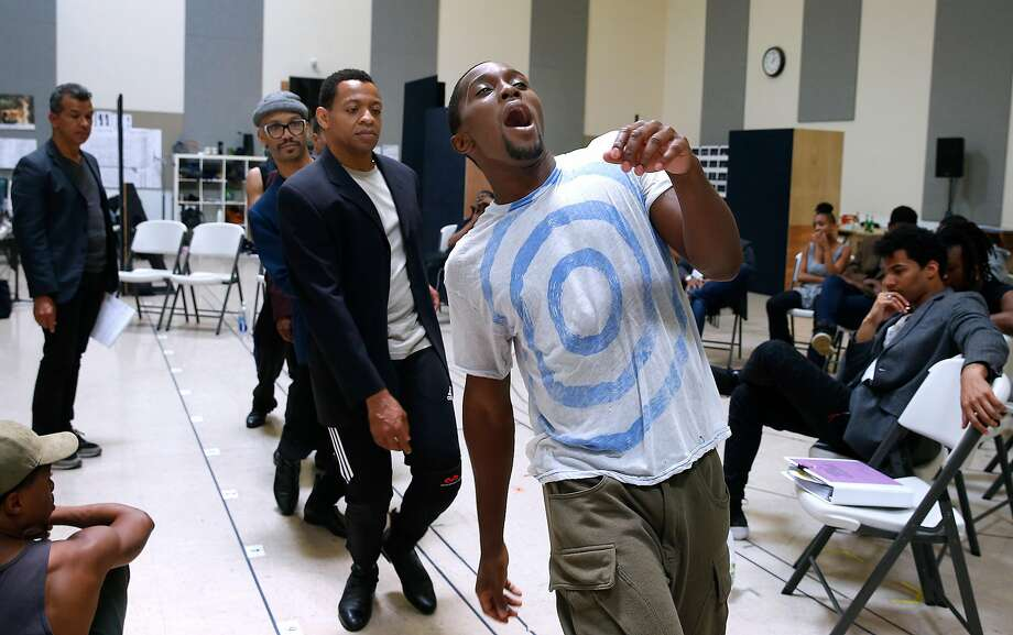 """Jarvis B. Manning sings and dances with fellow cast members Derrick Baskin (center) and Jared Joseph (left) during a rehearsal for """"Ain't Too Proud: The Temptations Musical"""" at the Berkeley Rep rehearsal studio in Berkeley, Calif. on Wednesday, Aug. 2, 2017. Photo: Paul Chinn, The Chronicle"""