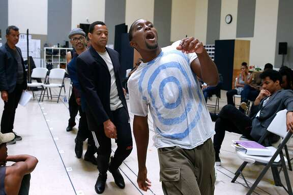 "Jarvis B. Manning sings and dances with fellow cast members Derrick Baskin (center) and Jared Joseph (left) during a rehearsal for ""Ain't Too Proud: The Temptations Musical"" at the Berkeley Rep rehearsal studio in Berkeley, Calif. on Wednesday, Aug. 2, 2017."