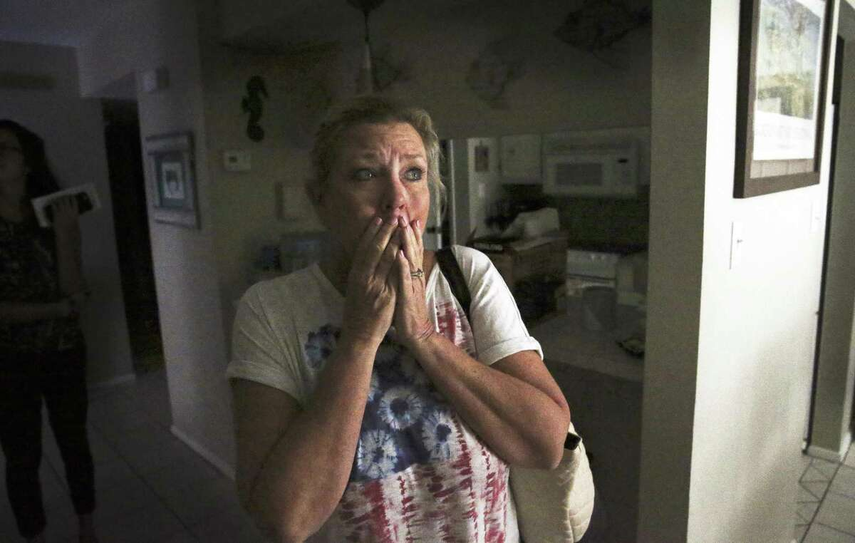 Robyn Harrelson, a teacher in San Antonio, is stunned to see that the interior who owns a second home in Rockport. Fears of a destroyed interior are vanquished as Robyn Harrelson is stunned to see the interior of her condo as recovery proceeds in Rockport on August 30, 2017. Fears of a destroyed interior are vanquished as Robyn Harrelson is stunned to see the interior of her condo as recovery proceeds in Rockport on August 30, 2017.
