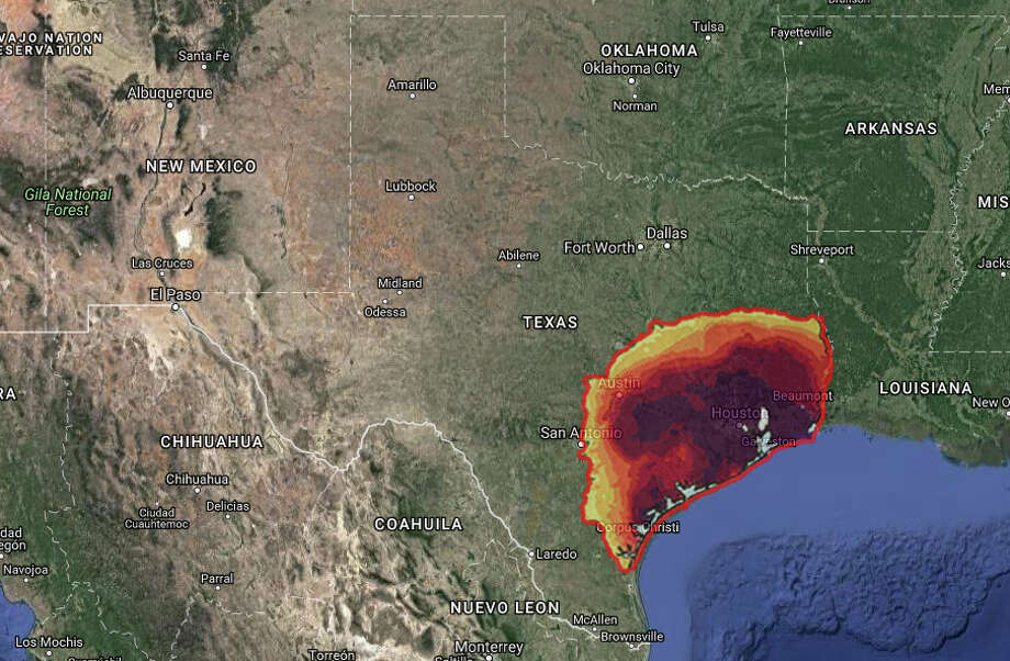 All told, the worst of Harvey's weekend rainfall footprint (1.5 inches and up) covers nearly a quarter of the Lone Star State.Click through to see what the massive storm would look like on Florida, California, Michigan and heavily populated areas in the Northeast like New York City, Philadelphia and Washington D.C. Photo: NWS/MAPfrappe