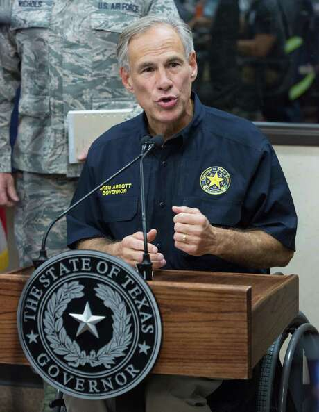 "Texas Governor Greg Abbott gives briefing at the State of Texas Emergency Command Center at DPS headquarters in Austin as they monitor Hurricane Harvey Sunday afternoon August 27, 2017. Tropical Storm Harvey lashed central Texas with torrential rains on Sunday, unleashing ""catastrophic"" floods after the megastorm -- the most powerful to hit the United States since 2005 -- left a deadly trail of devastation along the Gulf Coast. / AFP PHOTO / SUZANNE CORDEIROSUZANNE CORDEIRO/AFP/Getty Images Photo: SUZANNE CORDEIRO, Contributor / AFP/Getty Images / Internal"