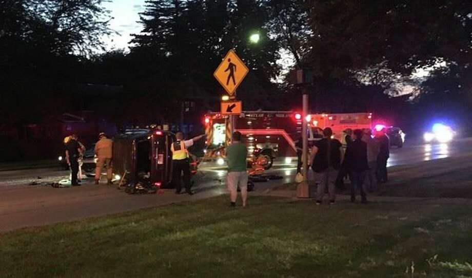One person was hurt in a three-vehicle traffic crash Monday night at the intersection of South Saginaw Road and Eastlawn Avenue. (Photo provided)
