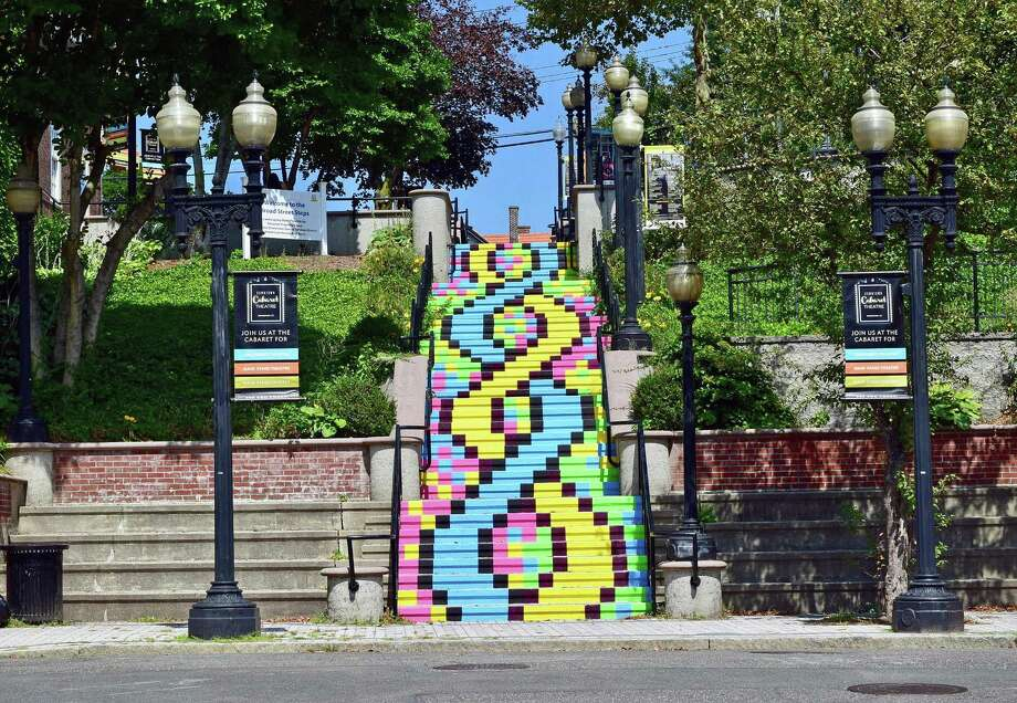 "Local Bridgeport, Conn., artist Liz Squillace recently completed her mural ""Painted Stairway"" on the staircase that runs from Elm Street up to Golden Hill Street. She completed, with the help of volunteers, the mural in late August 2017. Photo: Contributed Photo / Liz Squillace / Contributed Photo / Connecticut Post Contributed"