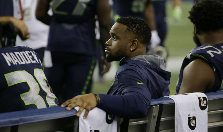 Seattle Seahawks running back Thomas Rawls sits on the bench during an NFL football preseason game against the Minnesota Vikings, Friday, Aug. 18, 2017, in Seattle. Rawls did not play in the game. (AP Photo/Stephen Brashear) Photo: Stephen Brashear/AP