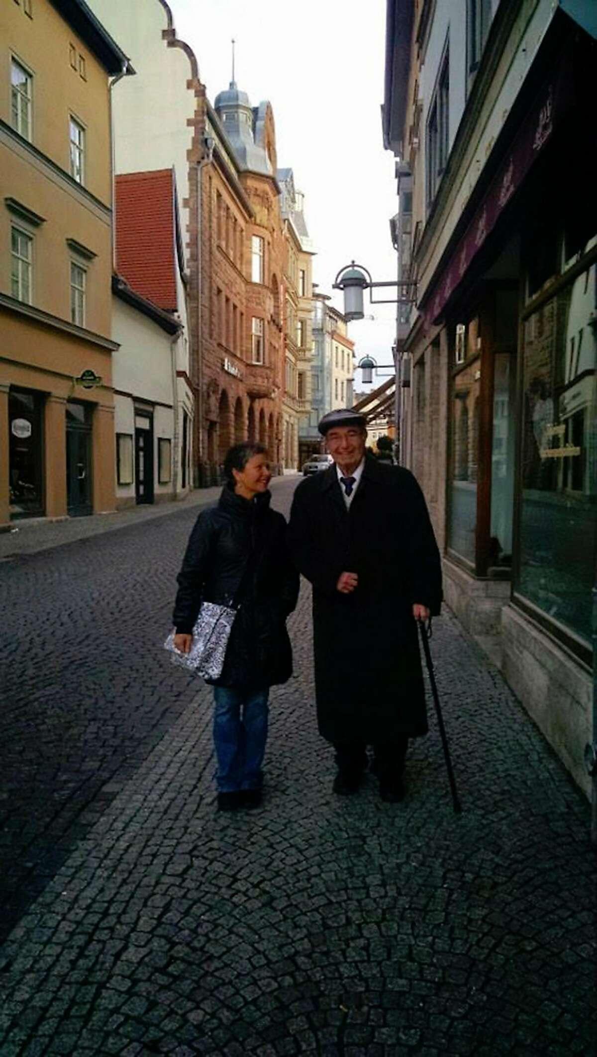 Elizabeth Rosner and her father Karl Rosner, taken in April 2015 in Weimar, Germany by Elizabeth's nephew Ezra Brettler.