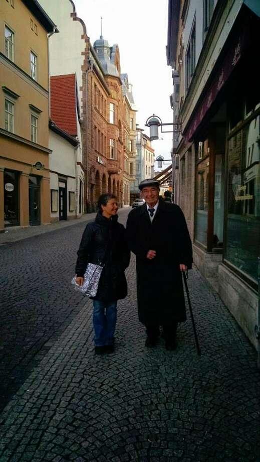 Elizabeth Rosner and her father, Carl Rosner, taken in April 2015 in Weimar, Germany, by Elizabeth's nephew Ezra Brettler. Photo: Ezra Brettler