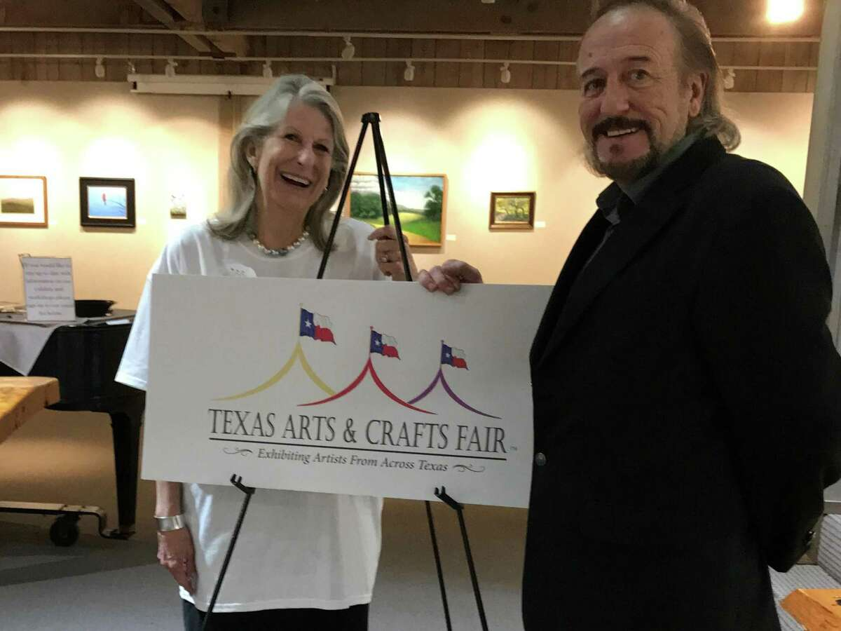 Wanda Cash, director of the Texas Arts & Crafts Fair, is pictured with Mark Jackson of Studio Rio Designs, who created the logo for the event. The fair will return in 2018 after a five-year hiatus.
