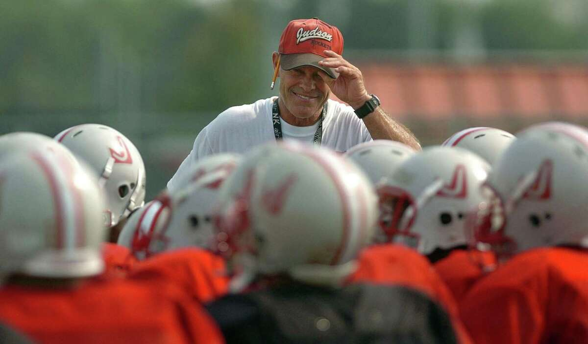 Judson head football coach Jim Rackley looks over his team during a practice on Oct. 19, 2004.