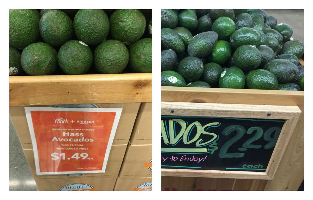 Conventional avocados Whole Foods: $1.49 Trader Joe's: $2.29 Whole Foods introduced lower prices on Aug. 28, 2017. SFGATE investigated how the grocery chain's prices now compare with those at Trader Joe's.