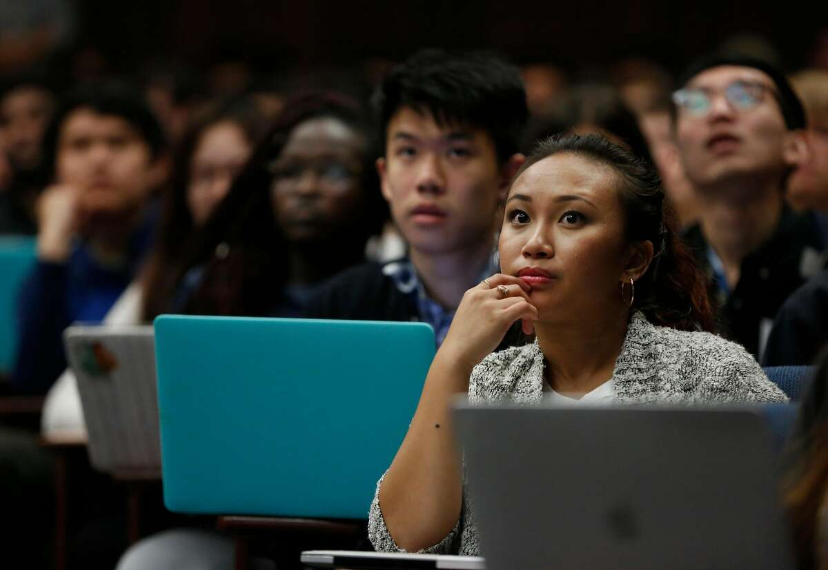 Junior Jonahluis Galvez, sociology major, listens to the introductory lecture during the first day of the Foundations of Data Science course at UC Berkeley campus August 23, 2017 in Berkeley, Calif.
