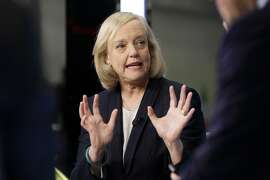 Hewlett Packard Enterprise President and CEO Meg Whitman is interviewed on the floor of the New York Stock Exchange, Monday, Nov. 2, 2015.  (AP Photo/Richard Drew)