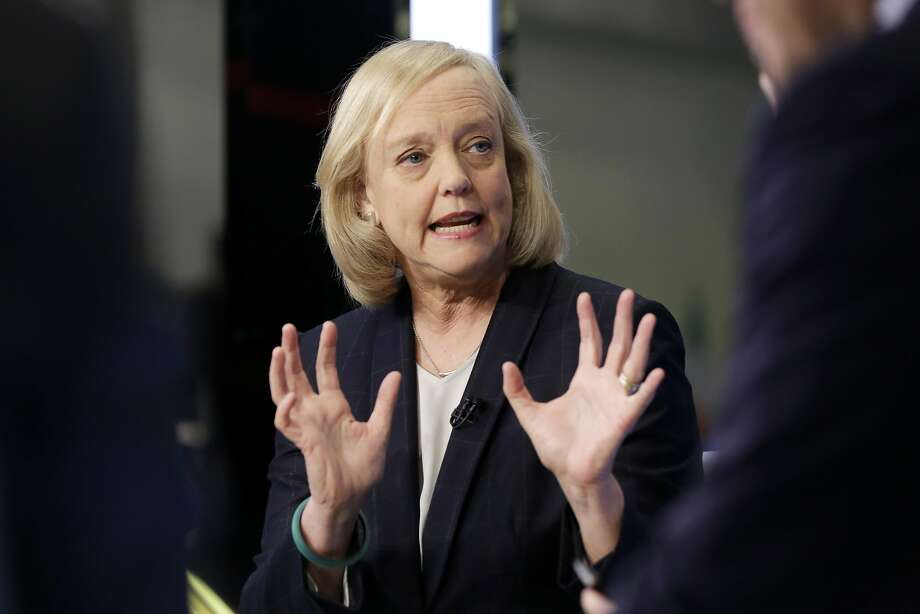 Hewlett Packard Enterprise President and CEO Meg Whitman is interviewed on the floor of the New York Stock Exchange, Monday, Nov. 2, 2015.  (AP Photo/Richard Drew) Photo: Richard Drew, AP