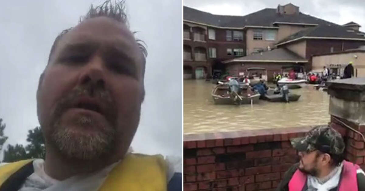 """Michael Harrell: """"Some people say 'hero,' but I say 'Texan.'"""" He worked with James Allen, Matt Henk and Sonny Velasquez to save more than 200 people, but credits the newly formed Texas Navy for helping dispatch rescuers to residents in need. """"There are still lots of good people in the country. Over the last few days, with all the volunteering I saw, proves it."""""""