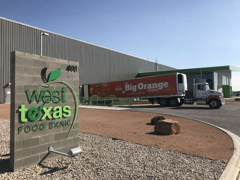 A tractor trailer is pictured at theMidland West Texas Food Bank facility waiting for the collected items forvictims of Hurricane Harvey. Photo: West Texas Food Bank