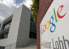 """The entrance to Google headquarters is seen in Moutain View, Calif., Tuesday, April 6, 2004. Google Inc. hails its free e-mail service as a welcome breakthrough in online communication, but consumer watchdogs are attacking it as a creepy invasion of privacy that threatens to set a troubling precedent. Although Google's """"Gmail"""" service isn't even available yet, critics already are pressuring the popular search engine maker to drop its plans to scan e-mail content electronically so it can distribute relevant ads alongside incoming messages. (AP Photo/Paul Sakuma)"""