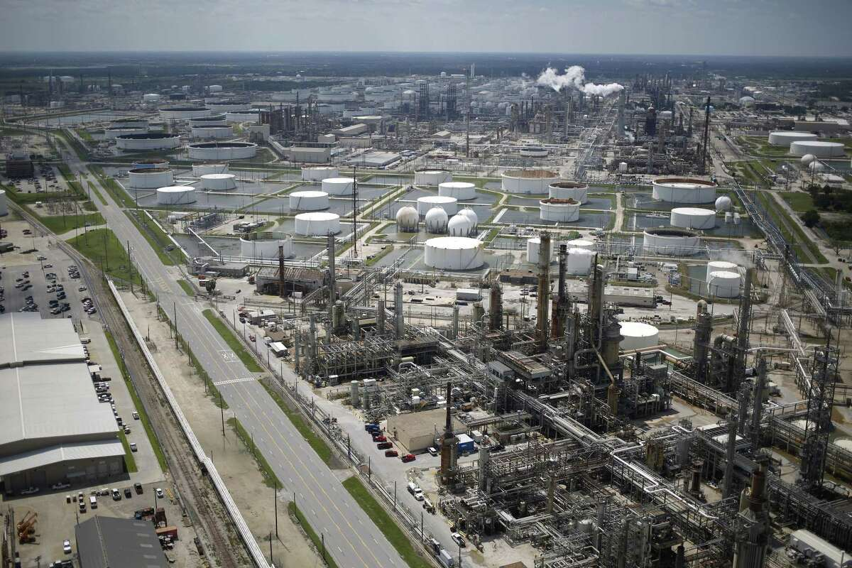 A Marathon Petroleum Corp. oil refinery stands in this aerial photograph taken above Texas City, Texas, U.S., on Wednesday, Aug. 30, 2017. Unprecedented flooding from the Category 4 storm that slammed into the state's coast last week, sendinggasoline pricessurging as oil refineries shut, may also set a record for rainfall in the contiguous U.S., the weather service said Tuesday. Photographer: Luke Sharrett/Bloomberg