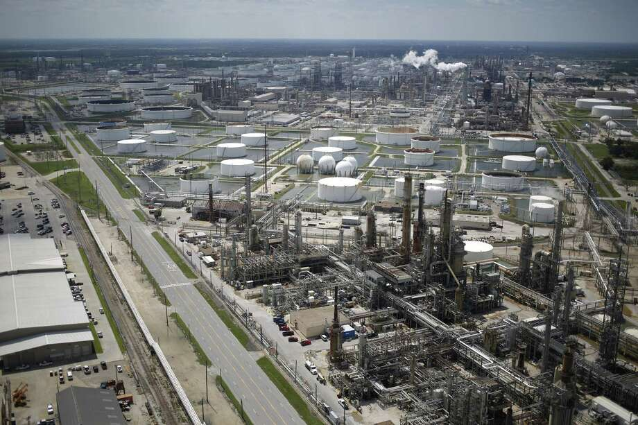A Marathon Petroleum Corp. oil refinery stands in this aerial photograph taken above Texas City, Texas, U.S., on Wednesday, Aug. 30, 2017. Unprecedented flooding from the Category 4 storm that slammed into the state's coast last week, sendinggasoline pricessurging as oil refineries shut, may also set a record for rainfall in the contiguous U.S., the weather service said Tuesday. Photographer: Luke Sharrett/Bloomberg Photo: Bloomberg / © 2017 Bloomberg Finance LP