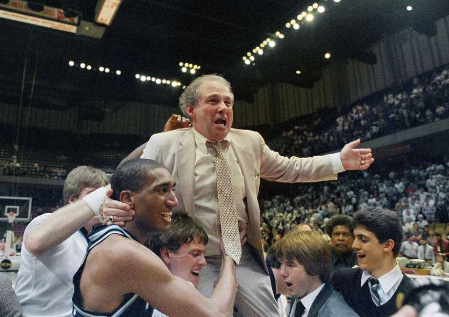 Rollie Massimino rides on his players shoulders after Villanova won the title on March 24, 1985. Photo: Associated Press